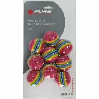 Packung mit 9 gestreiften Trainingsbällen Pure2Improve